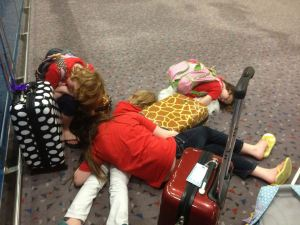 The Cooke girls catching a nap during their 47 hour trip!